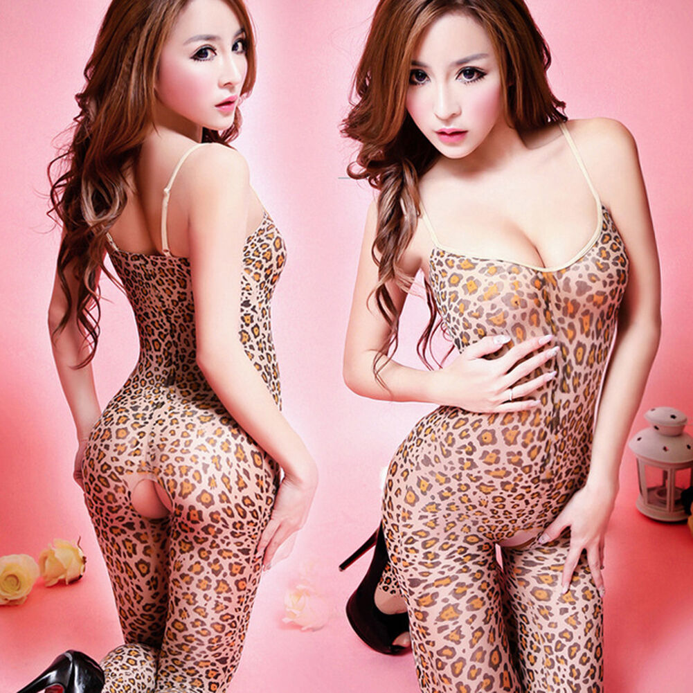 59cc53ed1dc Details about Sexy Leopard Print Open Crotch Lady Full Body Stocking  Crotchless Lingerie Women
