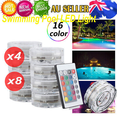 4/8X LED Swimming Pool Lights Underwater Light RGB 16Color with Remote Control