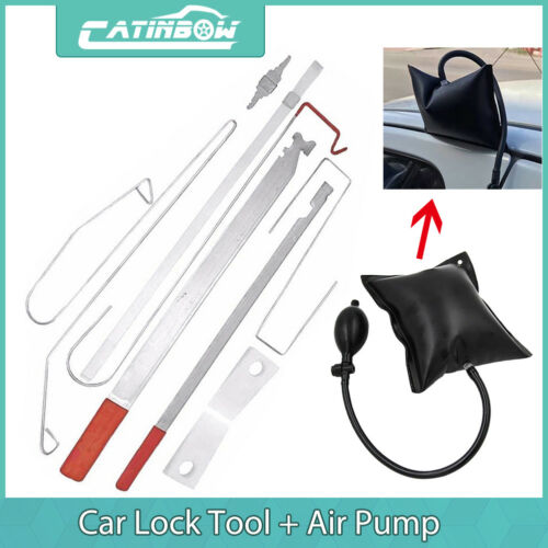 Car Parts - Car Door Lock Out Emergency Open Unlock Key Tools Kit + Black Air Pump Universal