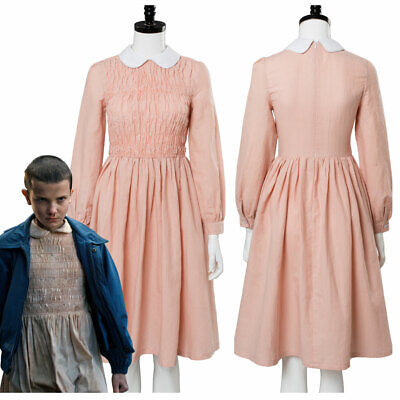 Stranger Things Cosplay 11 Eleven Costume Millie Bobby Pink Dress Uniform