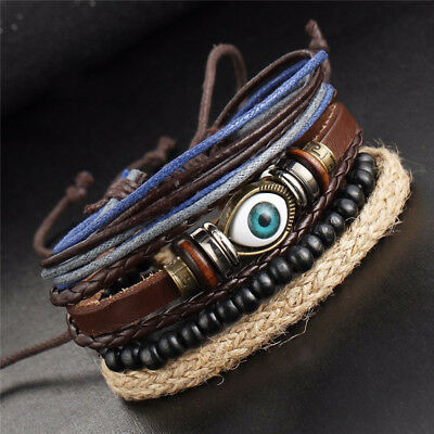 4Pcs Men's Evil Eyes Multi Layer Beads Adjustable Handmade Bracelets Cheap (Cheap Bracelet)