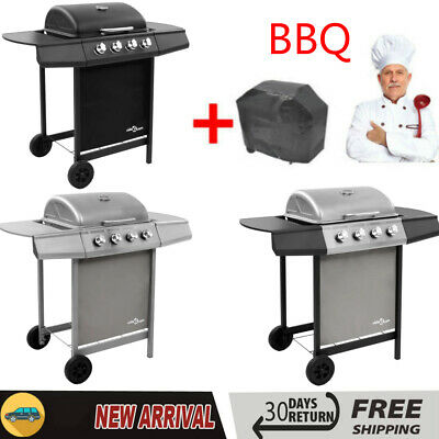 BBQ Gas Grill Stainless Steel Burners Garden Barbecue with 4 Burner Family Party