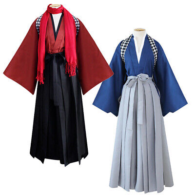 Mens Vintage Japanese Kimono Yukata Haori Samurai Costume Suit Cosplay Full Set