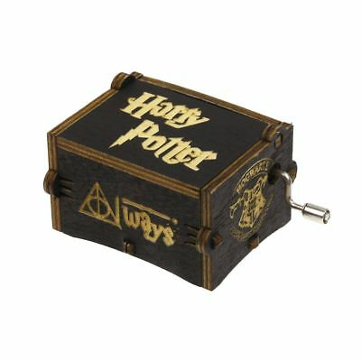 Black Harry Potter Music Box Engraved Hand Wooden Music Box Interesting Kid Toys