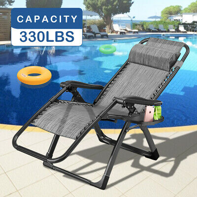 2x Zero Gravity Folding Lounge Beach Chairs Tray Outdoor Recliner Grey