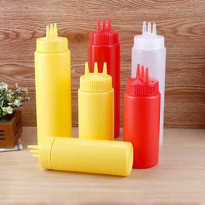Pratical 3 Hole Plastic Squeeze Bottle Condiment Dispenser Ketchup Mustard Sauce