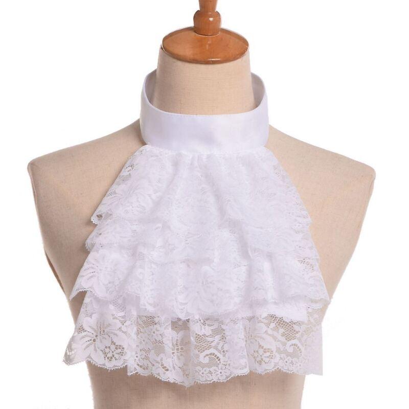 Edward Detachable Lace White Ruffle Jabot Collar Victorian Steampunk Collar