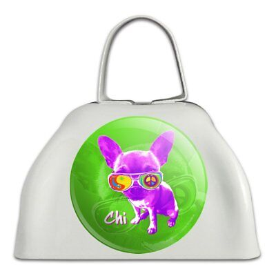 Chi Chihuahua Dog Sunglasses Vintage Retro White Cowbell Cow Bell Instrument