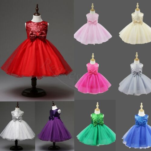 c47a5fa86391 UK Kids Baby Flower Girls Party Sequins Dress Wedding Bridesmaid ...