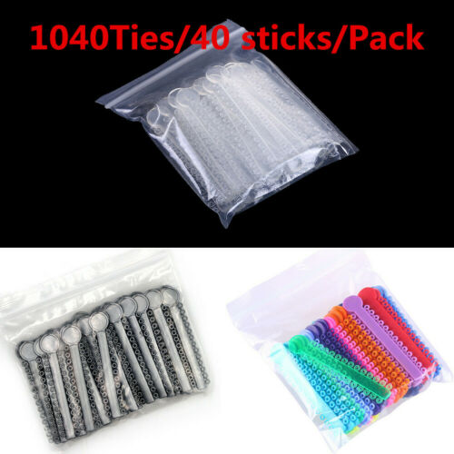 1040Tie/pack Ligature Ties Elastic O-rings Rubber Band Dental Ortho 3 Colors