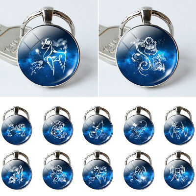 Single Face Round Glass 12 Constellation Zodiac Sign Pendant Key Ring New Trendy