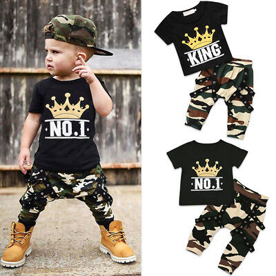 Kinder Baby Jungen Outfit King Queen 01 Camouflage T-shirt Top + Hose Kleidung (Queen Outfit)