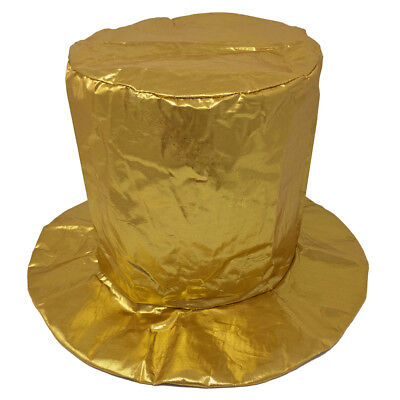 Adult Shiny Gold Top Hat ~ HALLOWEEN, MARDI GRAS, NEW YEAR'S, BIRTHDAY, PARTY (Gold Top Hat)