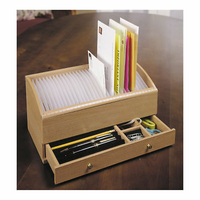Wooden Desk Organizer w/ Drawers Office Desktop Stand Tabletop Rack File Holder, used for sale  Shipping to South Africa