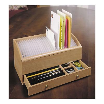 Wooden Desk Organizer W Drawers Office Desktop Stand Tabletop Rack File Holder