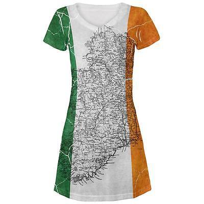 St Patrick's Day Vintage Irish Map Flag Distressed Juniors Beach Cover-Up Dress