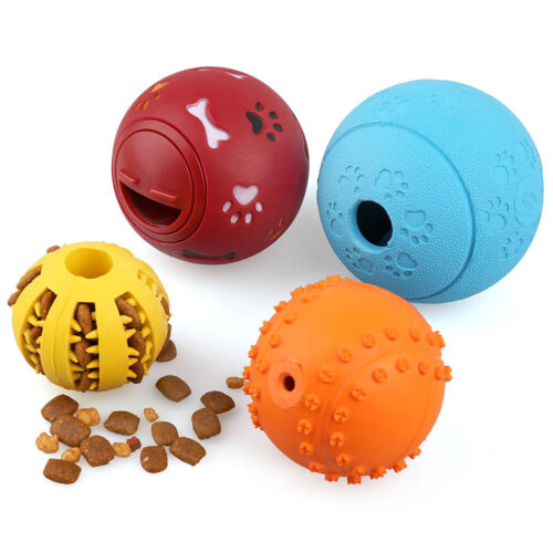 4 Pack Durable Dog Ball Toys for Aggressive Chewers Teething Cleaning Dispenser