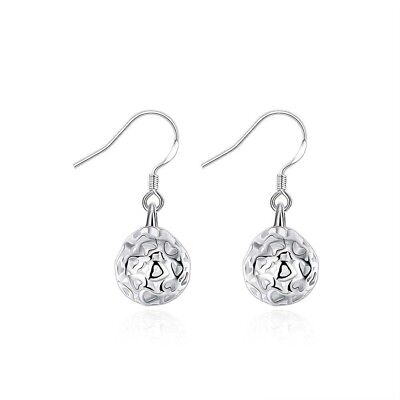 (White Gold Plated Plated Polished Filigree Hollow Ball Dangle Leverback Earrings)