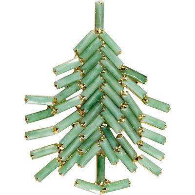 Dominique Jade Green Christmas Tree Pin Brooch Opaque Baguette Rhinestones