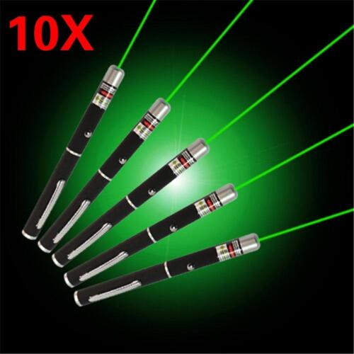10pcs Bright Powerful Green Laser Pointer Pen 5mW 532nm Green Visible Beam QU
