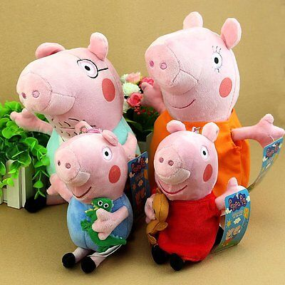 4Pcs Peppa Pig Family Plush Doll Stuffed Toy 30Cm Daddy Mummy 19Cm Peppa George