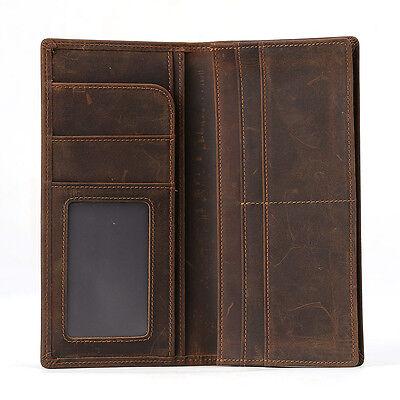 RFID Leather Wallet Bifold Passport Ticket Holder ID Secure Vintage Long Purse