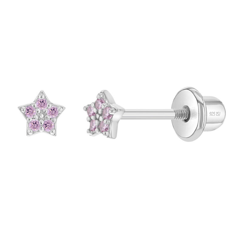 925 Sterling Silver Tiny CZ Pink Star Screw Back Earrings for Baby Girl Toddlers