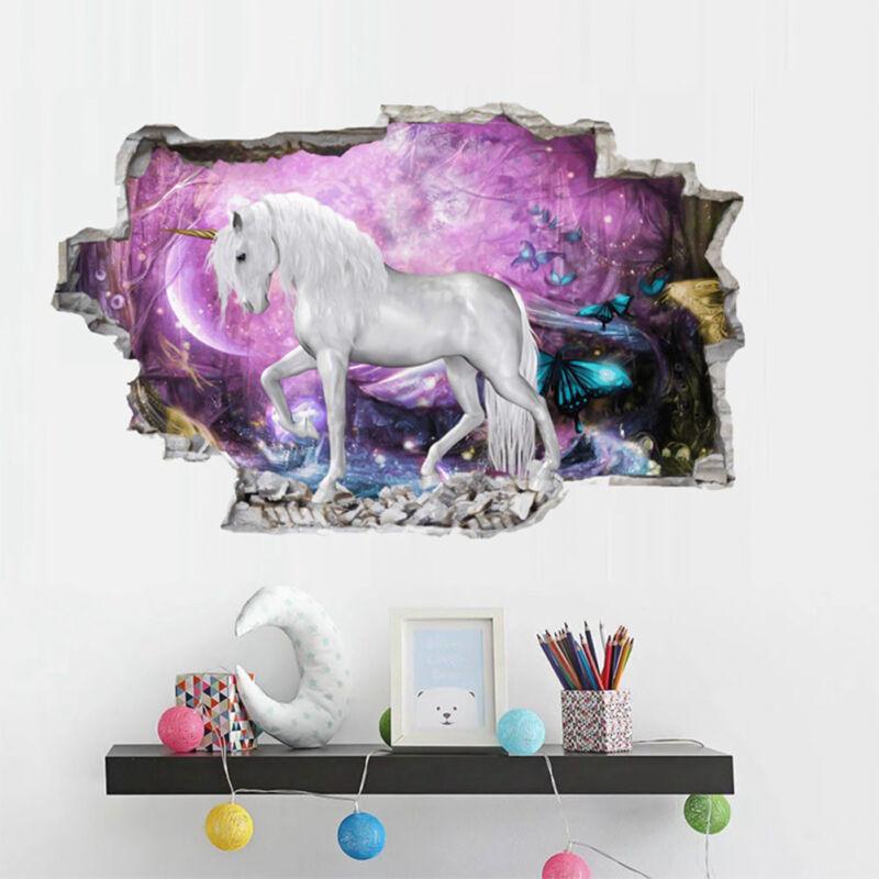 Home Decoration - 3D Unicorn Vinyl Wall Stickers Kids Bedroom Living Room Nursery Decals Decor UK