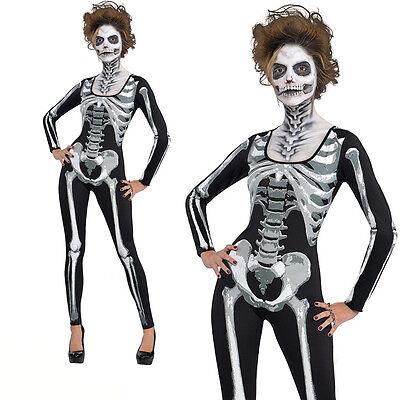 Ladies Adult Day Of The Dead Black And Bone Skull Skeleton Jumsuit Fancy Costume - Plus Size Womens Skeleton Costume