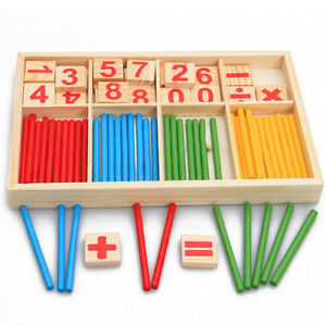 Kids Wooden Numbers Mathematics Early Pre-school Study Counting Educational Toy