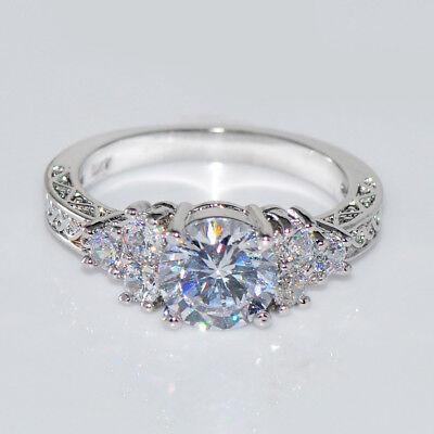 Diamond & Sapphire Wedding Ring - US 5.80/ct Lab diamond White Sapphire Wedding Band Ring 10KT White Gold Jewelry