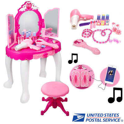 Girls Kids Pretend Play Vanity Mirror Table Chair Cosmetic Makeup Set Toy Gift ()