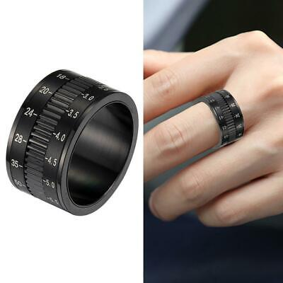 Rotatable Men Black Titanium Steel Ring Camera Lens Finger Band Thumb Ring