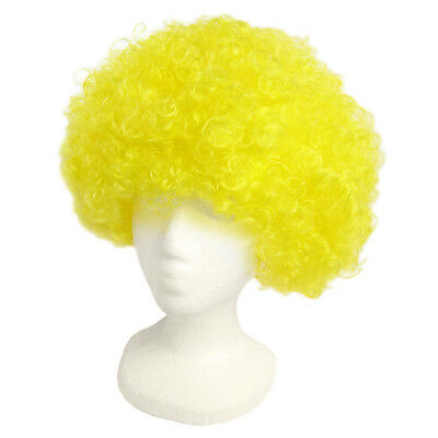 Yellow Clown Wig (Economy Yellow Afro Wig ~ HALLOWEEN 60s 70s DISCO CLOWN COSTUME PARTY CURLY)