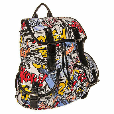 A comic book themed back pack is a Comic Con essential