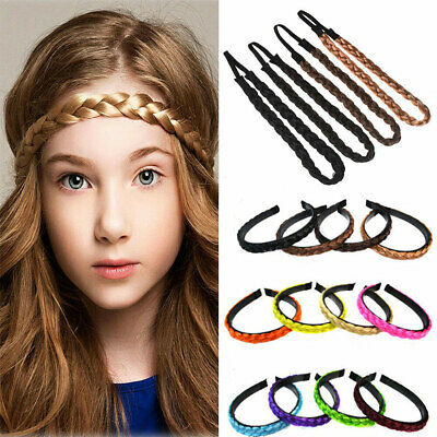 Xmas Synthetic Hair Plaited Elastic Headband Wig Hairband Girl Braided Headwear (Xmas Headbands)