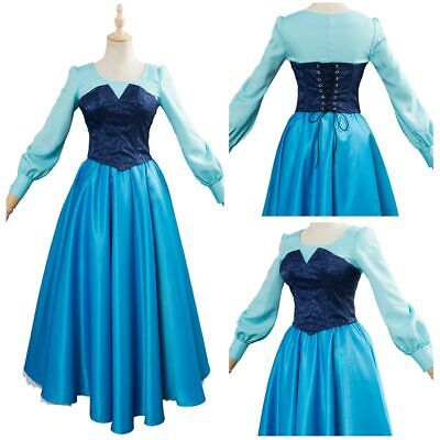 The Little Mermaid Ariel Disney Cosplay Costume Remastered Version Blue Dress - Ariel Blue Dress Cosplay