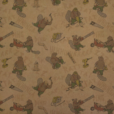 Busy Beavers Building Construction Premium Kraft Roll Gift Wrap Wrapping - Construction Paper Roll