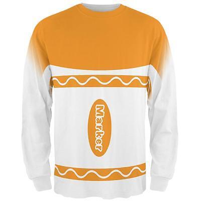 Halloween Marker Costume Orange All Over Mens Long Sleeve T Shirt