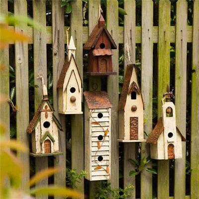 Glitzhome Antique Hand Carved Church Wood Birdhouses Garden Hanging Bird Nests -