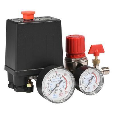 Air Compressor Pressure Switch Control Valve Manifold Regulator Gauges G18
