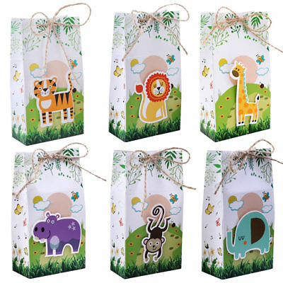 Paper Bag Party Bags (12x Safari Animals Paper Bag Party Favor Treat Bags Jungle Candy Box Gift)