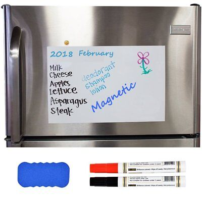 17x12 Dry Erase Magnetic Refrigerator Flexible Blank White Board Message Plan