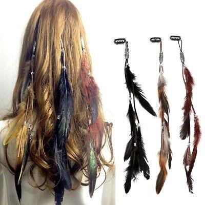 Boho Damen Haarband Haarkette Pfau Feder Stirnband Indianer Hippie Kopfschmuck
