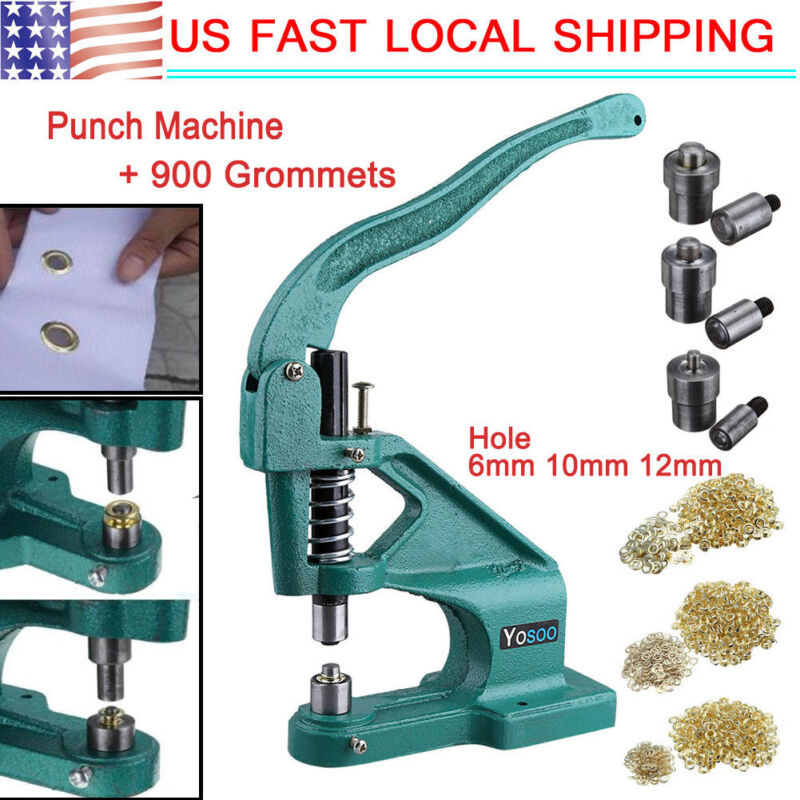 Heavy Duty Manual Hand Press Grommet Machine Eyelet Hole Banner Punch Tool US