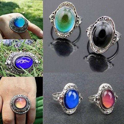 5Pcs Vintage Color Change Mood Ring Emotion Feeling Oval Stone Rings Send Random Mood Stone Rings