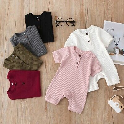 UK Newborn Baby Boy Girl Short Sleeve Knitted Romper Jumpsuit One-Piece Clothes