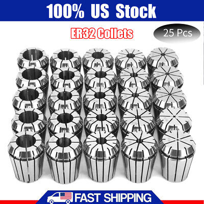 25pcs Er32 Collets Set High Accurate Spring Steel 12pcs By 16th 13pcs By 32nd