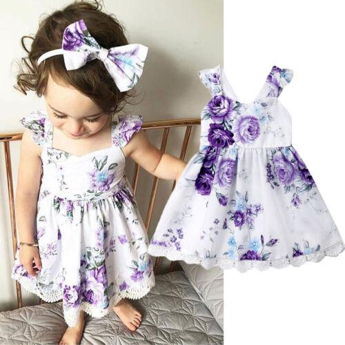 US Flower Girls Princess Lace Boeknot Wedding Dresses Gown T