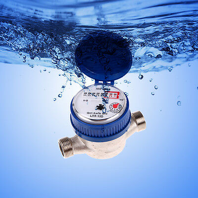 "15mm 1/2"" Cold Water Meter Flow Measuring Meter Garden House Various Connectors"